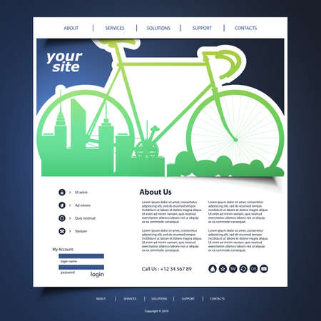sports app: Website Template with Eco Concept Header Design