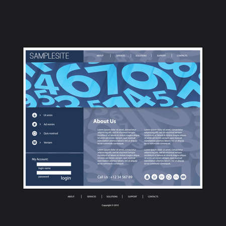 Website Template with Numbers Header Design - Business Concept Vector
