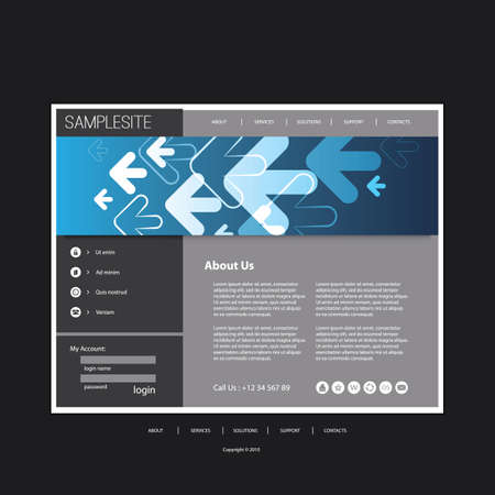Website Template with Arrows Header Design - Business Concept Vector