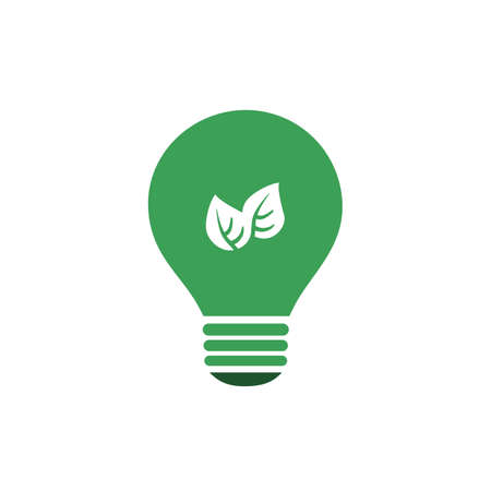 welfare plant: Green Eco Energy Concept Icon - Plant Inside the Light Bulb Illustration