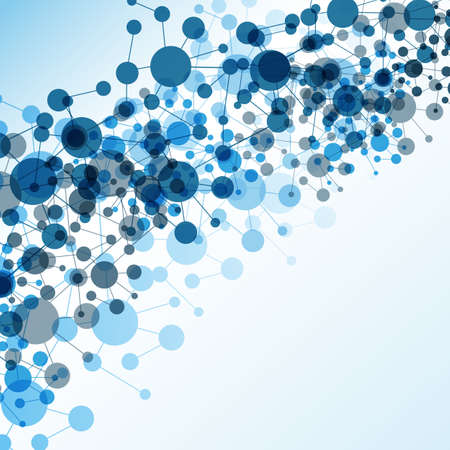 Connections - Blue Abstract Background, Molecular, Global, Business Network Design