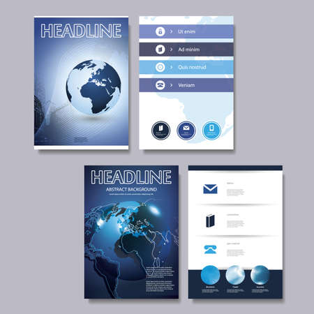 Flyer or Cover Design Template Set - Business, Corporate Identity Vector