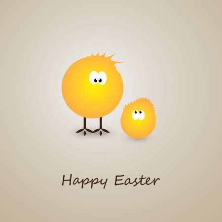 Happy Easter Card with Little Chickens Design