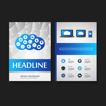 Flyer or Cover Design Template - Business, Networks, Cloud Computing - Corporate Identity Concept Vector