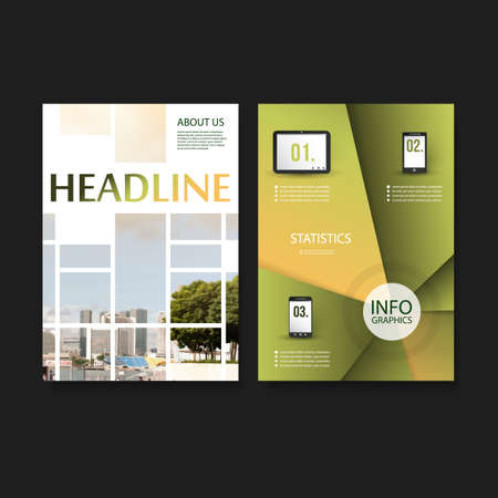 Flyer or Cover Design Template - Business, Networks, Infographics - Corporate Identity Concept Vector