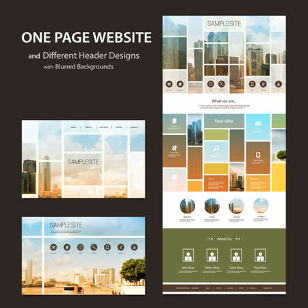 One Page Website Template and Different Header Designs with Blurred Backgrounds - Mosaics Vector
