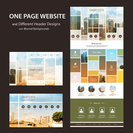 sjabloon: One Page Website Template en Verschillende Header ontwerpen met Wazig Achtergronden - Mozaïeken