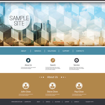 original circular abstract: Website Design for Your Business with Skyscrapers Background Illustration