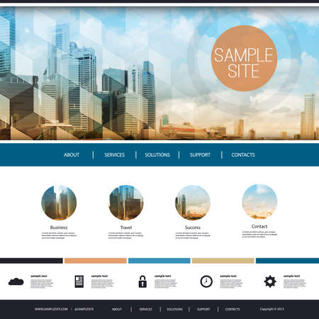 site template: Website Design for Your Business with Skyscrapers Background Illustration