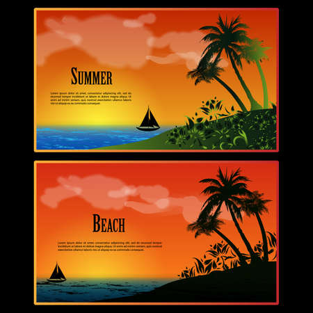 happiness people silhouette on the sunset: Summer Beach Banners Set