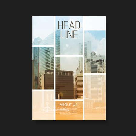 plantilla: Flyer o diseño de portada con los rascacielos