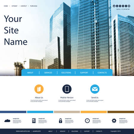 website template: Website Design for Your Business with Skyscrapers Background Illustration