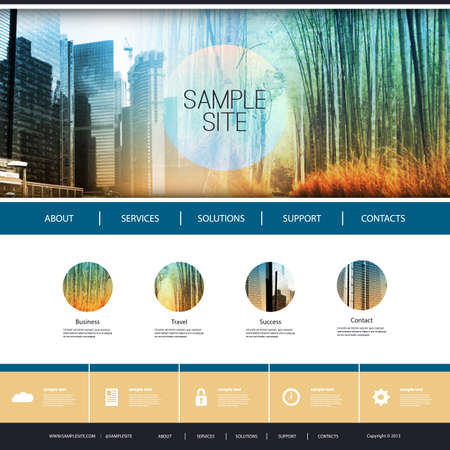 Website Design for Your Business with Photo Montage Background Ilustração