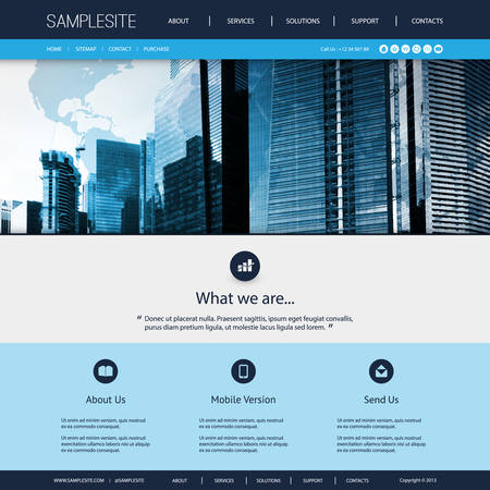Website Design for Your Business with Skyscrapers Background Vectores