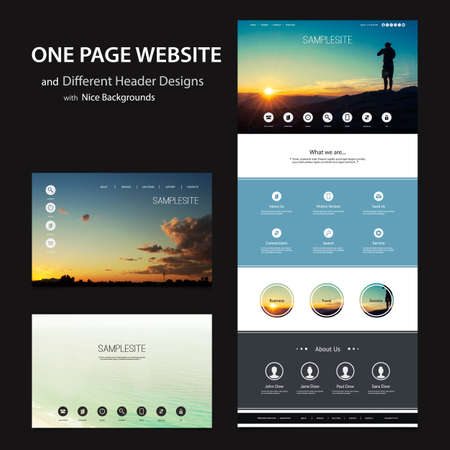 header label: One Page Website Template and Different Header Designs