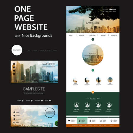 website template: One Page Website Template and Different Header Designs