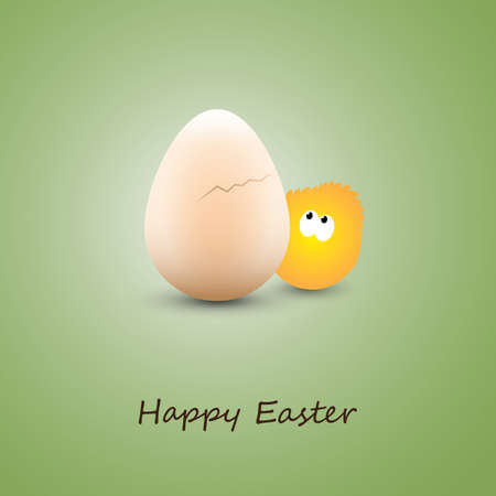 Funny Chicken and Egg - Happy Easter Card Vector