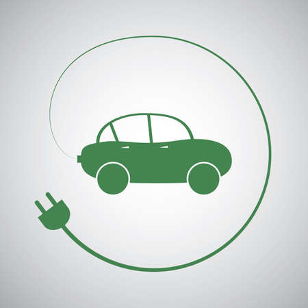 motor transport: Electric Vehicle - Eco Friendly Car Icon Design Template