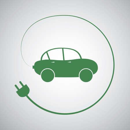 electric vehicle: Veicolo Elettrico - Eco Friendly Car Icon Template Design
