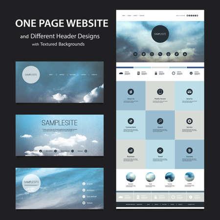 한 페이지 웹 사이트 템플릿 및 흐린 배경을 가진 다른 헤더 디자인