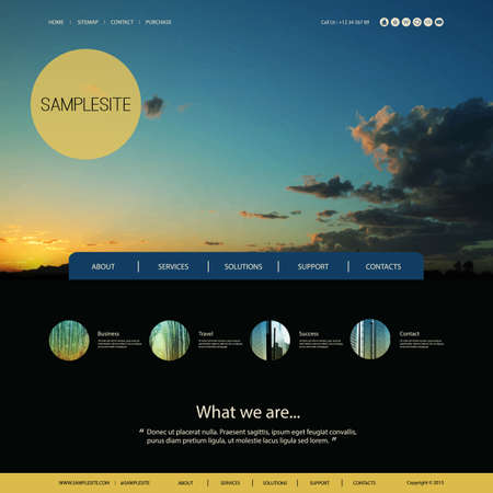 Website Design for Your Business with Sunset Image Background Ilustração