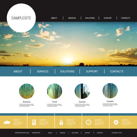 web: Website Design Template for Your Business with Sunset Image Background - Clouds, Sun, Sun Rays