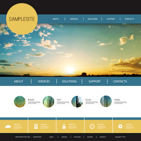 website buttons: Website Design Template for Your Business with Sunset Image Background - Clouds, Sun, Sun Rays