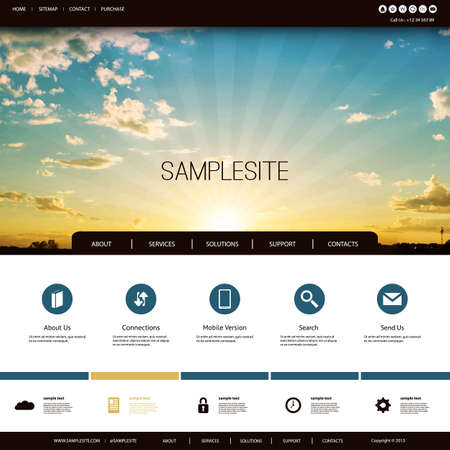Website Design Template for Your Business with Sunset Image Background - Clouds, Sun, Sun Rays