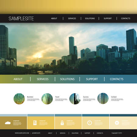 melbourne: Website Design Template for Your Business with City Skyline Background