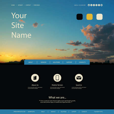 Website Design for Your Business with Sunset Image Background Vector