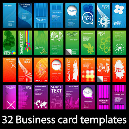 Set of Colorful Vertical Business Cards Vector
