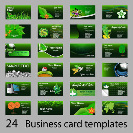 green and red: Set of Green Eco Business Cards