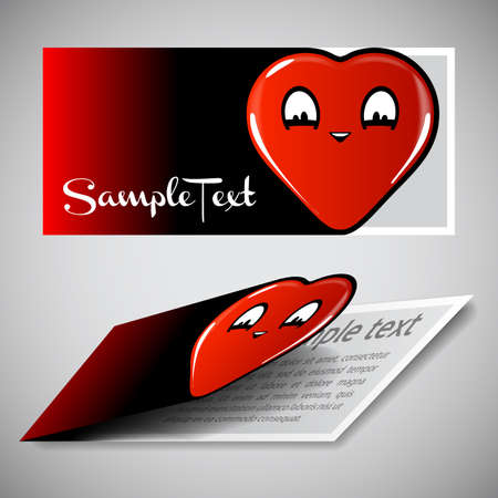 friendliness: Heart Shaped Red Card Design Template Illustration