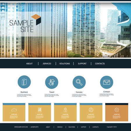 Website Design Template for Your Business with City Skyline Image Background Illustration