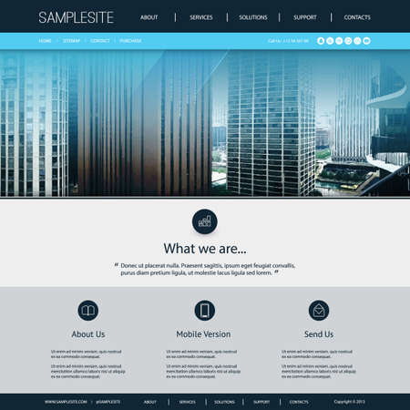 original circular abstract: Website Design Template for Your Business with City Skyline Image Background Illustration