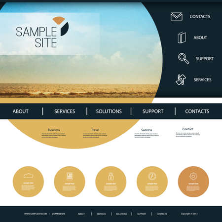 original circular abstract: Website Design for Your Business with Beach Image Background Illustration