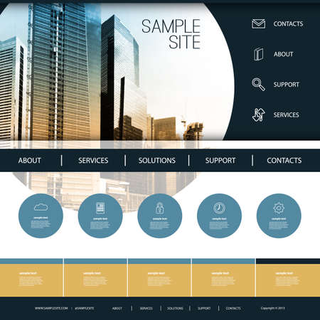 Website Design for Your Business with Skyscrapers Background Ilustração