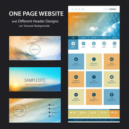 website backgrounds: One Page Website Template and Different Header Designs with Blurred Backgrounds - Clouds Illustration