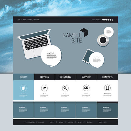 Website Design for Your Business with Abstract Cloud Image Background and Electronic Devices Vector