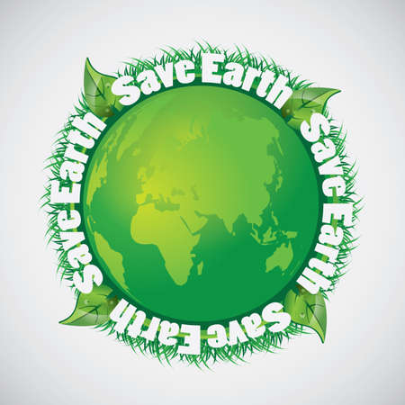 Save the Earth - Green Eco Earth Globe Background Vector