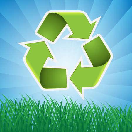 reciclable: Recicle el símbolo del fondo