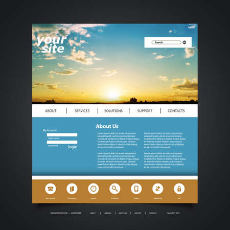 blog design: Website Design Template for Your Business with Sunset Image Background