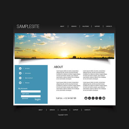 website buttons: Website Design Template for Your Business with Sunset Image Background