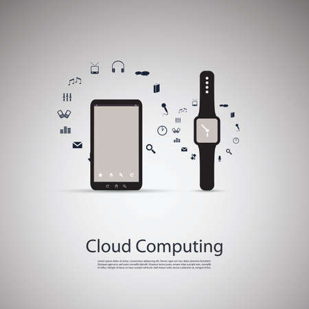 round icons: Electronic Devices - Mobile Phone with Smart Watch - Cloud Computing Design