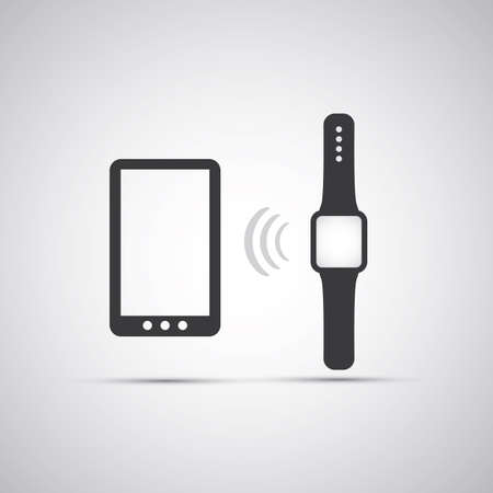 electronic devices: Electronic Devices - Mobile Phone with Smart Watch Illustration
