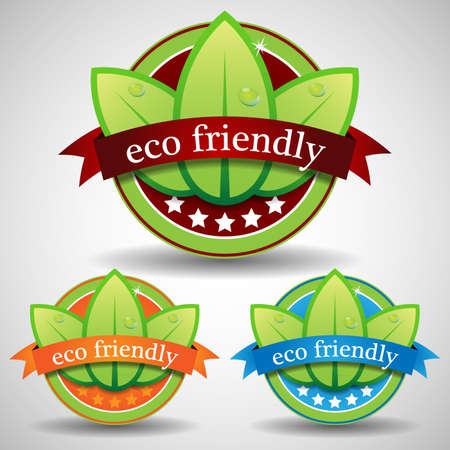 Green Eco Friendly Label or Badge Templates Vector