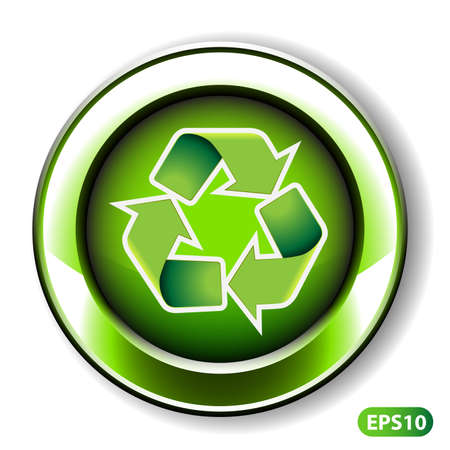 Vector Illustration of Recycling Label or Button Design Vector