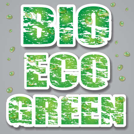 Green Grungy Bio Eco and Green Banners or Labels with Waterdrops Vector
