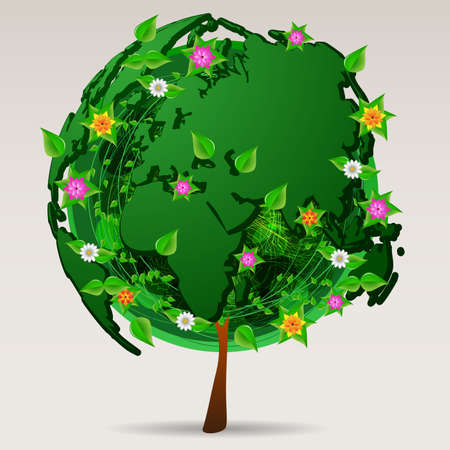 Save the World  Eco Concept Design Vector