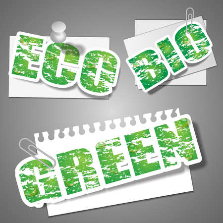 pinned: Green Eco Bio Clipped and Pinned Paper Cut Banners ClipArt